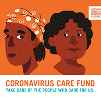 Two animated heads, text is coronavirus care fund, take care of the people who care for us.