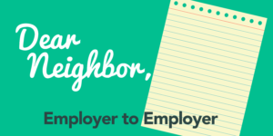Pad of paper, with text Dear neighbor, Employer to Employer
