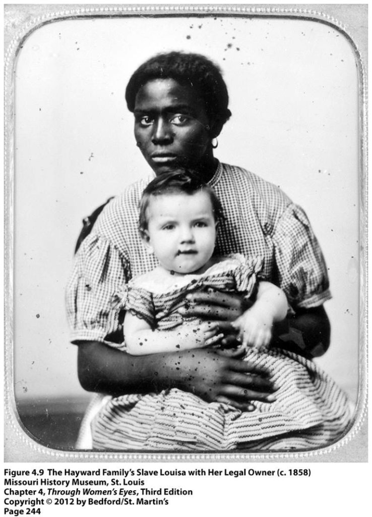 Portrait of a Black enslaved woman, Louisa, with a white baby who is her legal owner