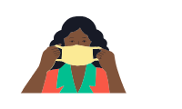 Graphic of woman holding up mask