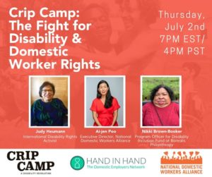 Graphic with text: Crip Camp: The Fight for Disability and Domestic Workers Rights. Photographs of Judy Heumann, Ai-jen Poo and Nikki Brown Booker
