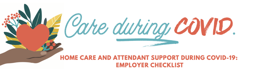 Graphic with text: Care During Covid: Homeware Employer Checklist