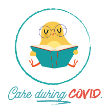 Yellow bird with glasses holding a book, with text below: Care during COVID