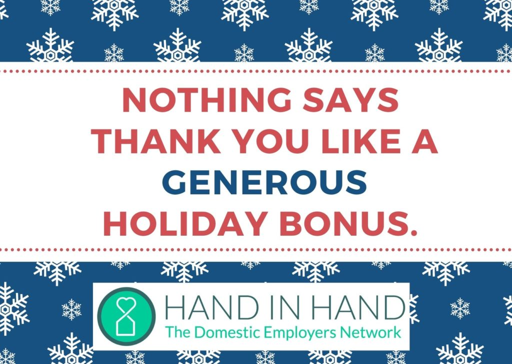 Graphic text reads: Nothing says thank you like a Generous holiday bonus
