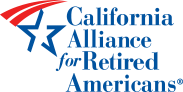 Logo for California Alliance for Retired Americans. Blue text, with a blue and red star.