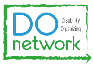 Logo reading DO network in bright blue and green text, with 'Disability Organizing' in small lettering.