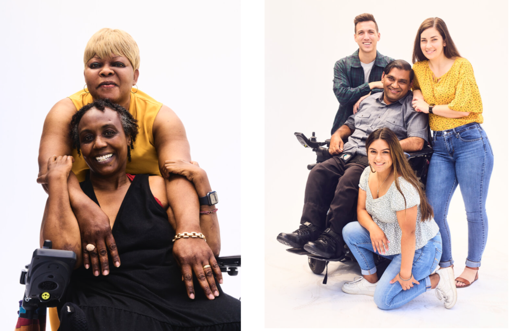 Photo on the left: Two black women smiling embrace, one sits in a wheelchair. Image on the right: Man in wheel chair surrounded by caregivers that lean on his chair and lean on his shoulders. All are smiling
