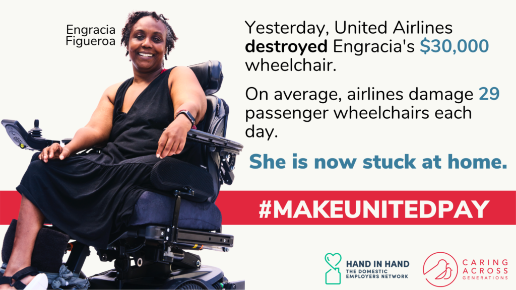 Woman smiling in wheelchair. Yesterday, United Airlines destroyed Encracia's $30,000 wheelchair. On average airlines damage 29 passenger wheelchairs each day. She is now stuck at home. #MakeUnitedPay