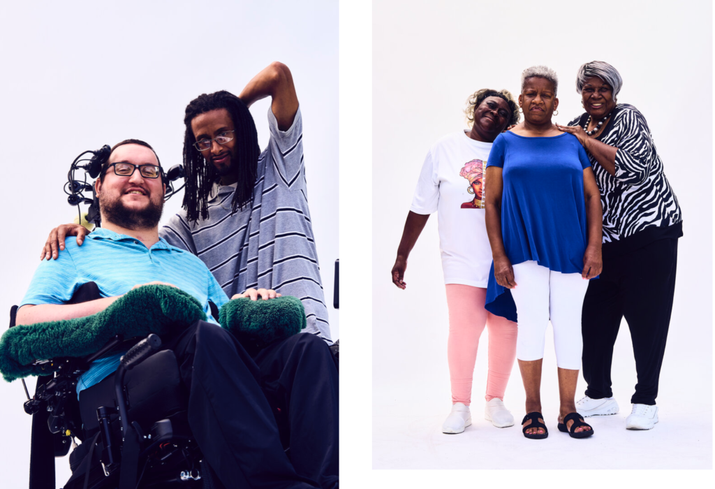 Photograph on the left: white man in wheelchair smiling standing next to thin black man also smiling. Photo on the Right: Group of three black women standing next to each other smiling, woman on the far right leans on the the woman in the center